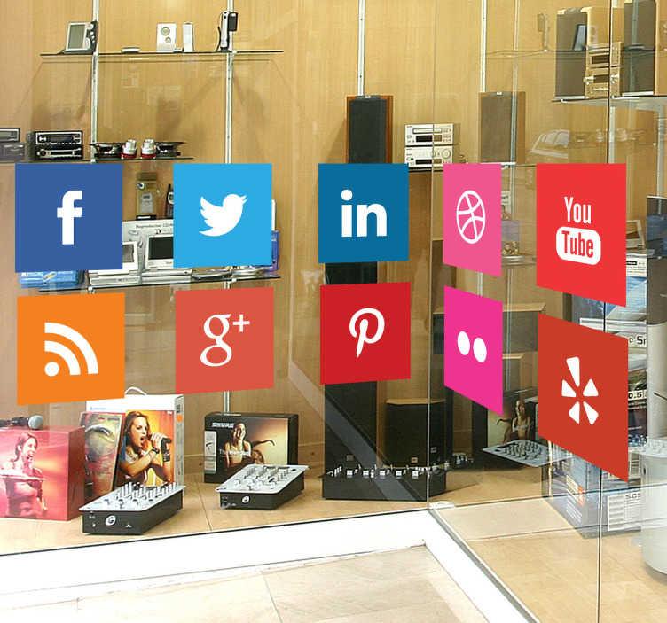 TenStickers. Sticker decorativo logótipos redes sociais. Sticker decorativo colorido ilustrando os logótipos das principais redes sociais, como o Facebook, Twitter, Pinterest, Linkdin, entre outras!