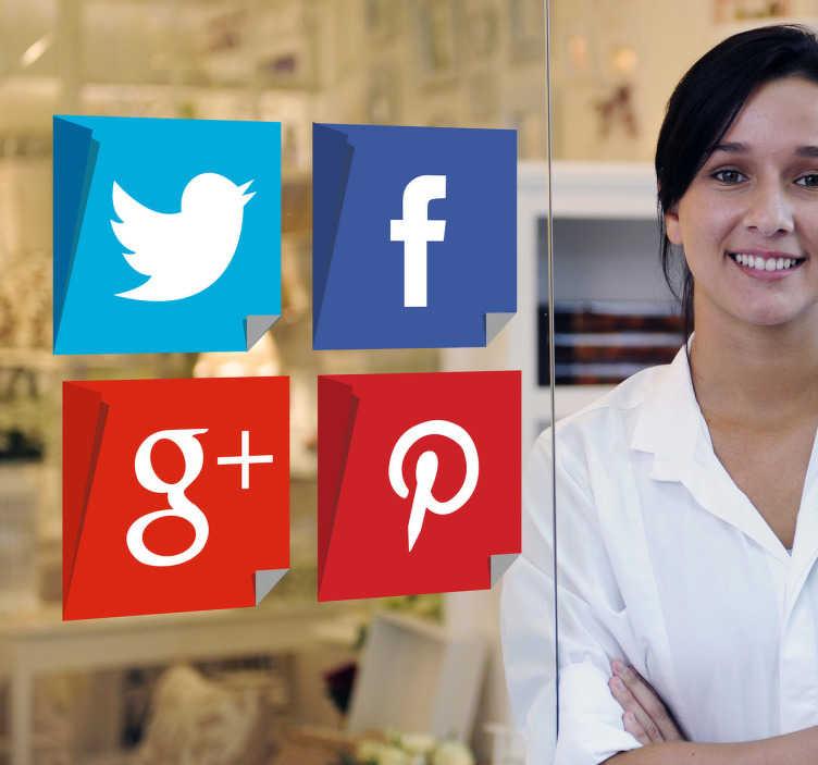 TenStickers. Aufkleber Social Media. Ein tolles Social Media Wandtattoo, das mit Twitter, Facebook, Google+ und Printerest die wichtigsten Plattformen zeigt. Online-Kauf + Garantie