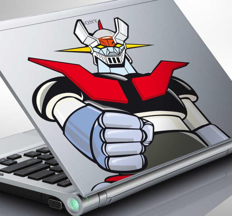 """TenVinilo. Adhesivo para portátil Mazinger. Espectacular pegatina para la parte trasera de tu computadora con el diseño de este robot. Mazinguer Z y su famosa frase """"Puños Fuera"""". Adhesivo ideal si eres un entusiasta del manga y el anime."""