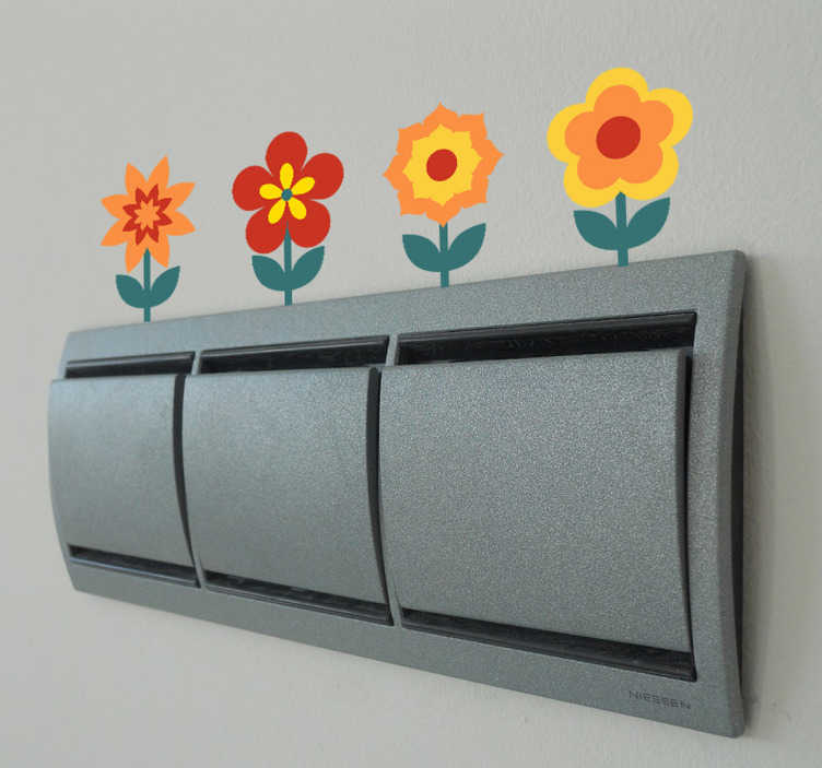 TenStickers. Autocolante decorativo flores para interruptor. Autocolante decorativo ilustrando um conjunto de flores com cores quentes, para decorar de forma original o seu interruptor ou a sua tomada.