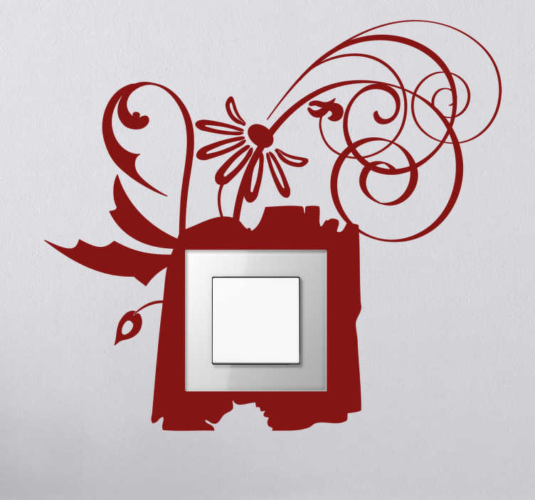 Vinilo decorativo apagador de luz marco flor