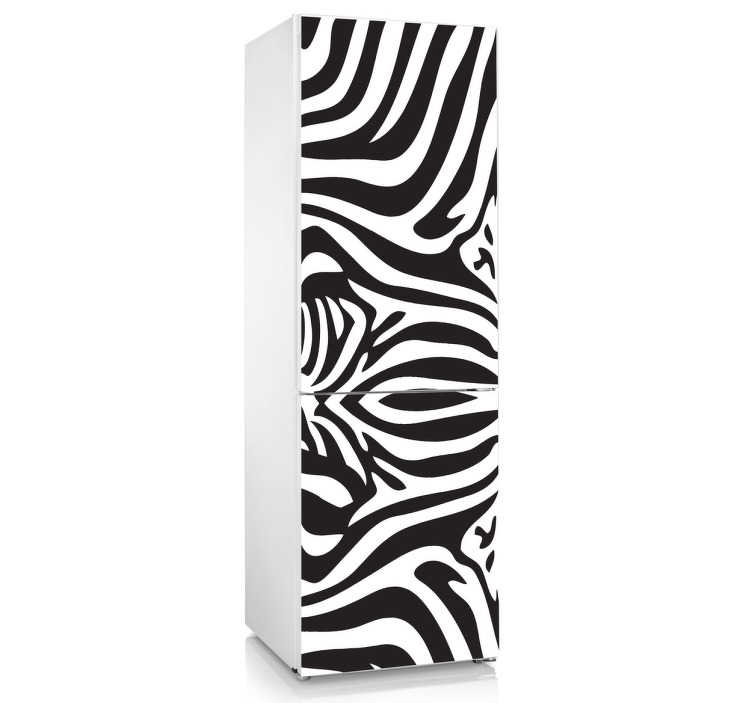TENSTICKERS. シマウマの冷蔵庫のステッカー. 冷蔵庫ステッカー - 冷蔵庫に装飾を加えるためのゼブラパターンデザイン。ゼブラストライプデカールを使って冷蔵庫のドアに独特の外観を与えます。