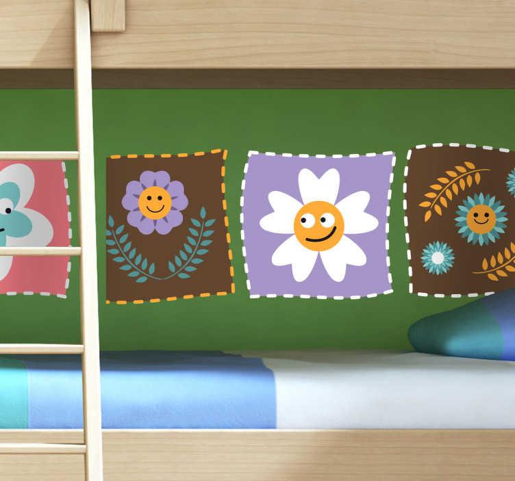 TenStickers. Kinder Wandtattoo Blumen. Dekorieren Sie das Kinderzimmer mit diesem schönen Wandtattoo von verschiedenen lächelnden Blumen in kleinen Vierecken.
