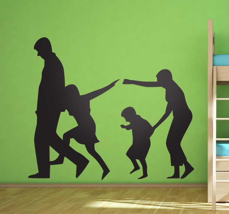 TenStickers. Autocollant mural silhouette famille. Stickers mural représentant une famille : les parents et les deux enfants.Personnalisez et adaptez le stickers à votre surface en sélectionnant les dimensions de votre choix.