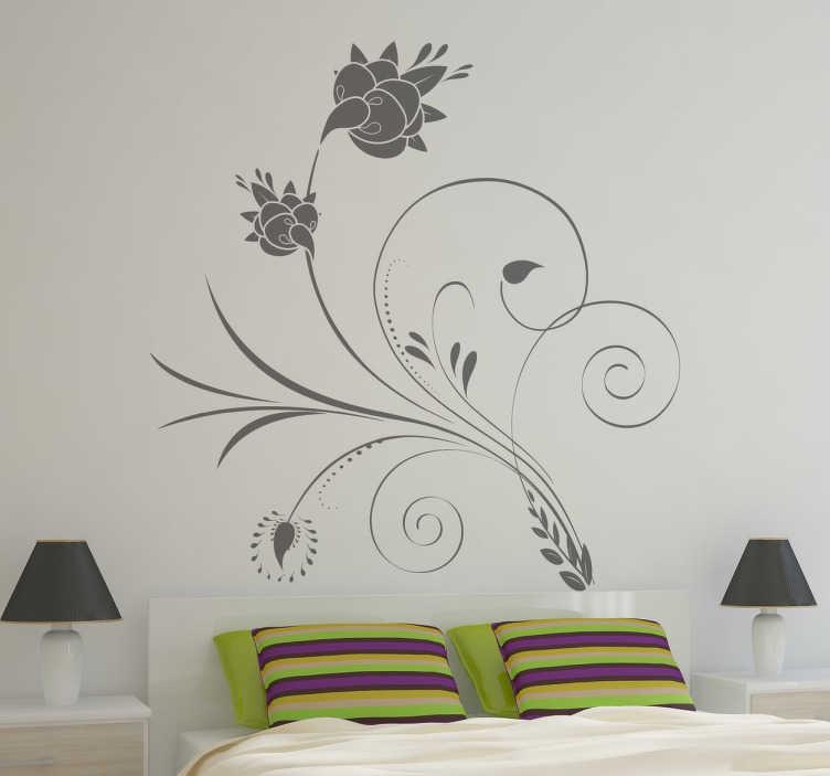 TenStickers. Wandtattoo elegante Blumenranke. Elegantes Blumenranken Wandtattoo zur Verschönerung des Wohnzimmer oder Schlafzimmer. Wirkt sehr modern.