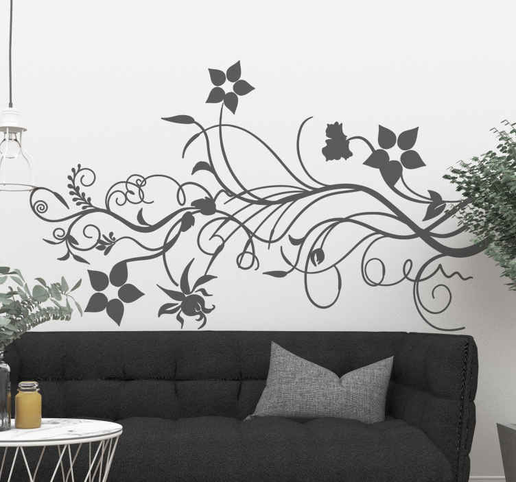 TenStickers. Blomster gren wallsticker. En sød detalje til indretningen af dit hjem. Perfekt til stuen eller soveværelset. Et klistermærke en gren med blomster og blade.