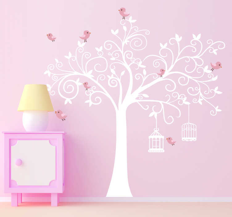 TenVinilo. Vinil decorativo árbol con jaulas. Adhesivo con la silueta de un árbol, escoge el color que quieras de nuestro catálogo. Llévate de regalo un sticker con varios pajaritos de color rosa.