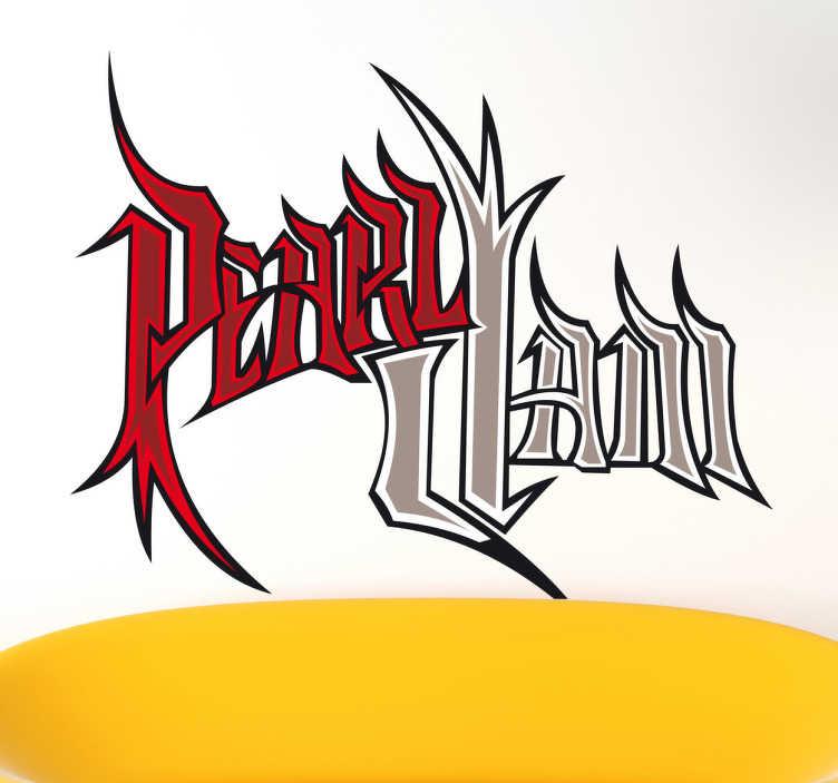 TenStickers. Sticker decorativo logo gotico Pearl Jam. Adesivo murale che raffigura la versione gotica del logo della famosa grunge band americana guidata dal mitico Eddie Vedder. Una decorazione ideale per i fan di questo celebre gruppo.
