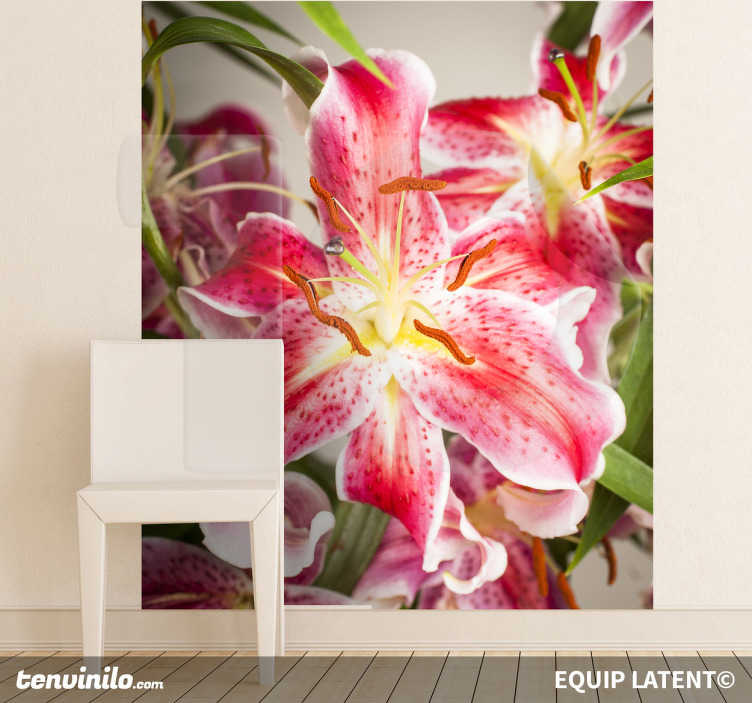 TenStickers. Open Lily Wall Mural. Photo Mural - A beautiful vibrant shot of a lily. Great for adding colour into a room. Photography by Latent Estudi. Available in various sizes.