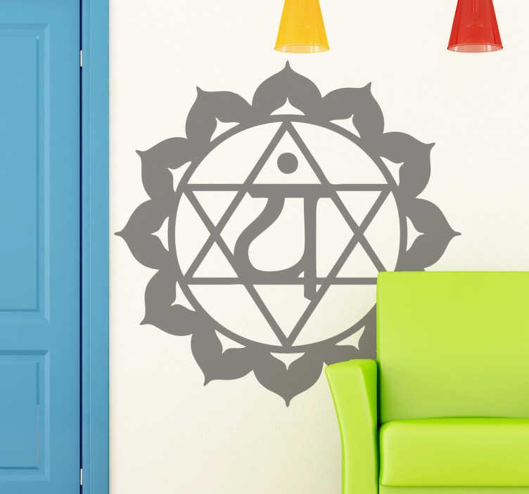 TenStickers. Naklejka dekoracyjan chakra anahata. Naklejka przedstawiająca jednokolorowy symbol azjatyckiego systemu uzdrawiania.