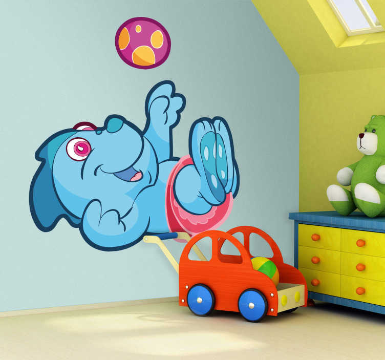 TenStickers. Kids Stickers Baby Blue Dinosaur. Kids wall sticker art - illustration of a cute and friendly baby dinosaur playing with a ball.