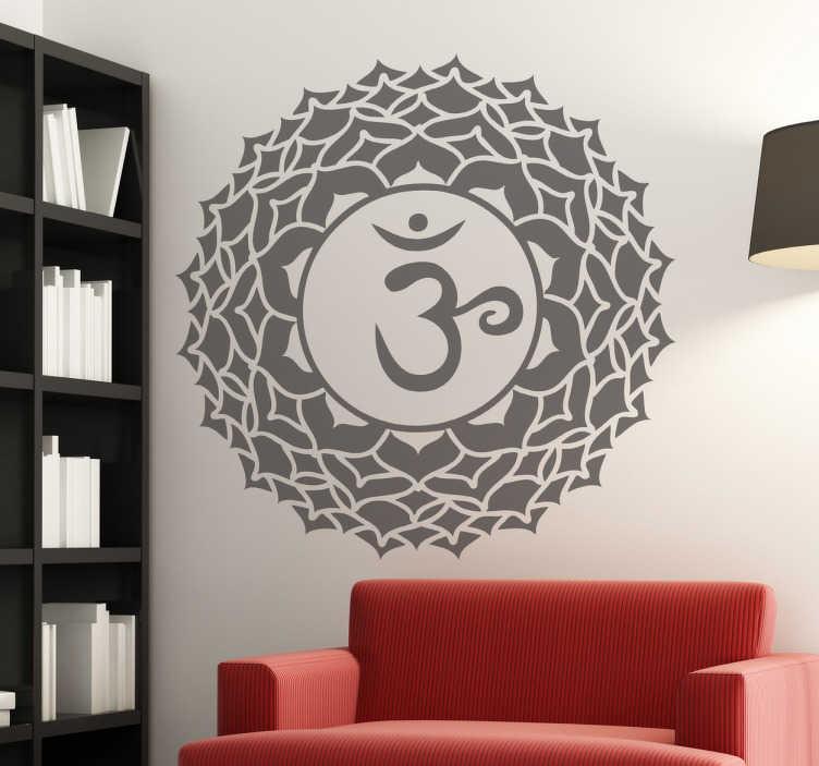 TenVinilo. Vinilo decorativo chakra sahasrara. Detallado símbolo enmarcado en un mandala adhesivo de este método curativo indio clásico.