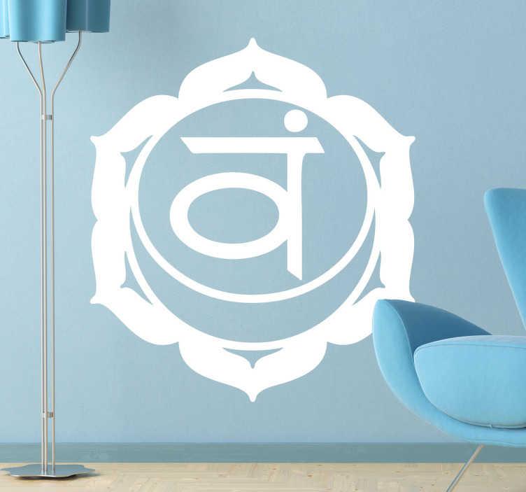 TenStickers. Naklejka dekoracyjna chakra svadishthana. Jednokolorowa naklejka dekoracyjna, która przedstawia klasyczny sposób leczenia w Azji.
