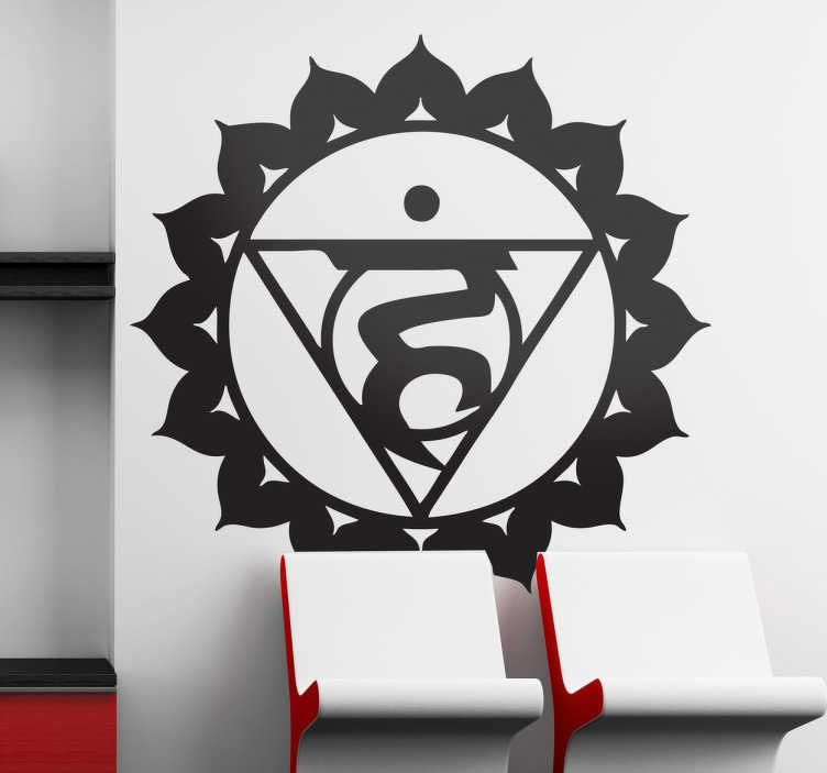TenStickers. Sticker chakra visuddha. Adhésif mural représentant le symbole du chakra visuddha.Illustration faisant référence à l'univers de la santé orientale.Utilisez ce stickers pour décorer votre cabinet.