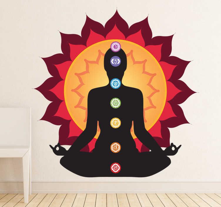 TenStickers. 차크라 실루엣 벽 스티커. 실루엣 벽 스티커 - 독특한 실루엣 그림. 인체의 영적 힘의 일곱 중심을 강조하는 명상 벽 스티커. 편안한 벽 스티커는 어떤 방에도 따뜻함과 긍정적 인 에너지를 제공합니다.