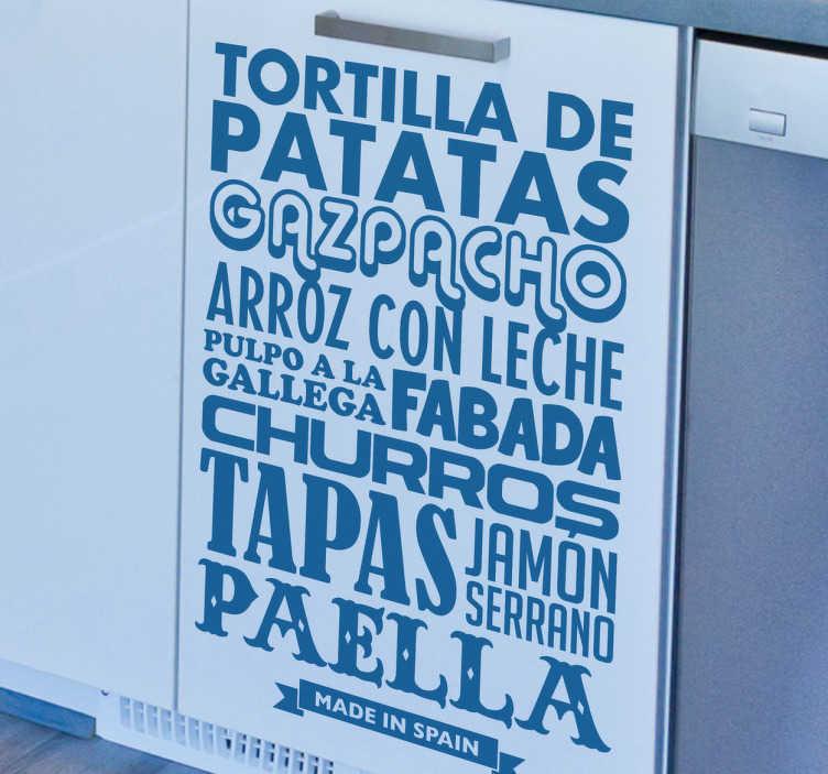 TenVinilo. Vinilos decorativos cocina platos España. Genial diseño tipográfico en adhesivo decorativo con algunas de las comidas más típicas de nuestro país. Platos clásicos y típicos de nuestro país.