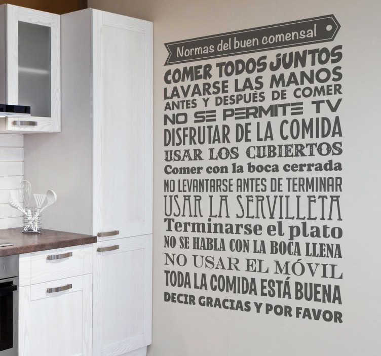 TenVinilo. Vinilos decorativos cocina normas. Completa lista de obligaciones del buen comedor en un original adhesivo monocolor.