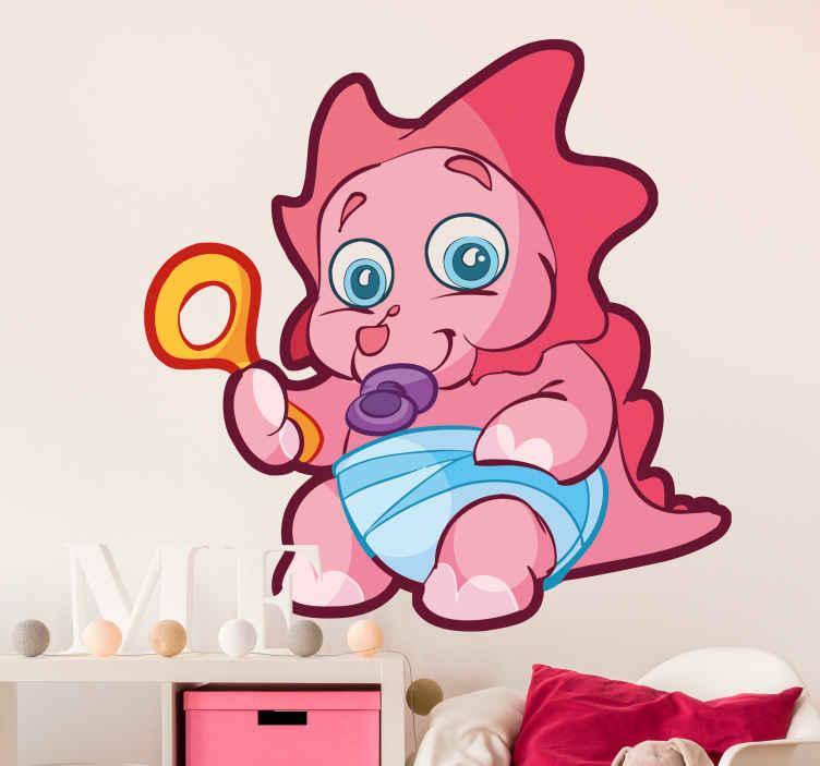 TenStickers. Naklejka różowy dino. Naklejka na ścianę z małym, różowym dinozaurem trzymającym grzechotkę w ręku. Obrazek przeznaczony do dekoracji pokoju najmłodszych domowników.