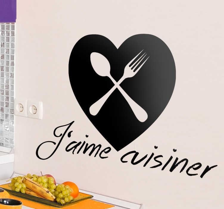 TenVinilo. Vinilo decorativo aime cuisiner. Original adhesivo para los amantes de la cocina francesa, o de cualquier otro lugar.