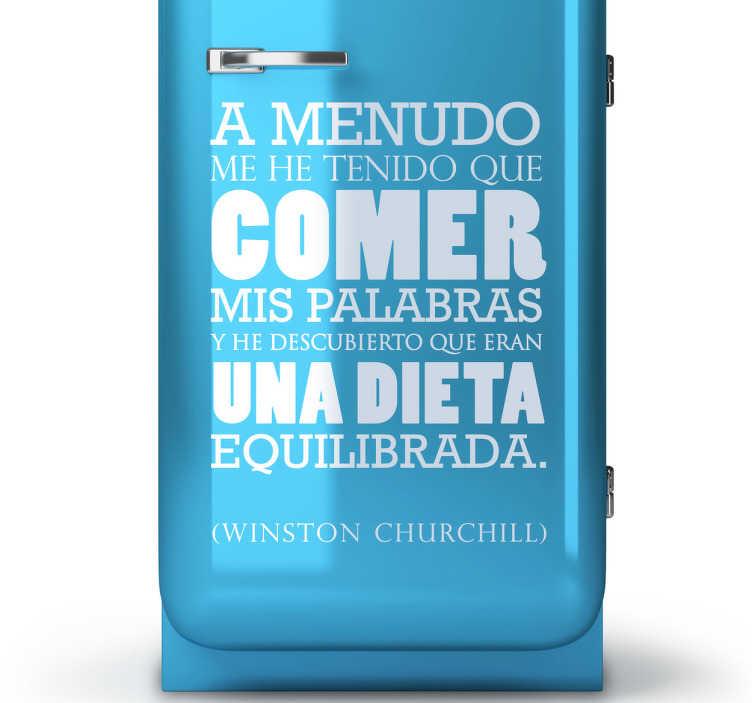 TenVinilo. Vinilo decorativo frase dieta palabras. Adhesivo con una graciosa cita del presidente británico Winston Churchill.