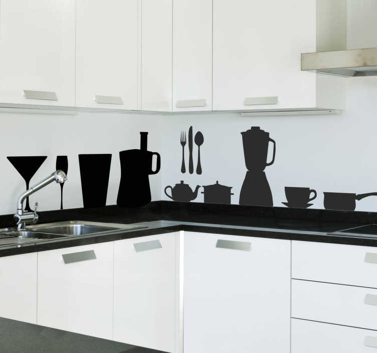 TenStickers. Kitchen Silhouettes Wall Sticker. Kitchen wall sticker showing silhouettes of various kitchen utensils and cutlery. This decorative silhouette sticker set is available in various colours and sizes and is perfect for adding that special something to those empty spaces throughout your kitchen.
