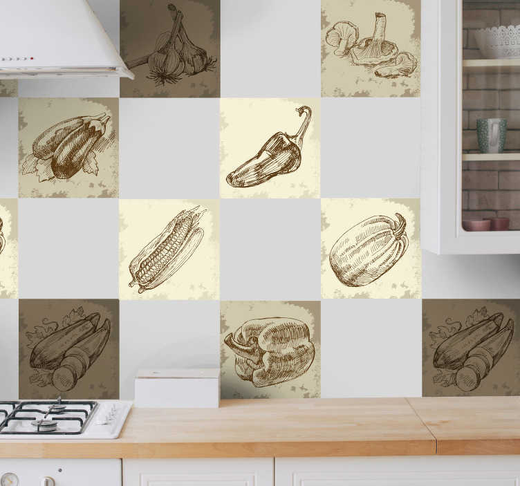 TenStickers. Vintage Food Illustration Kitchen Sticker. Original prints illustrations of various types of food in brown and sepia tones. A fantastic design from our collection of tile stickers. Decorate walls, windows, furniture, appliances and more.
