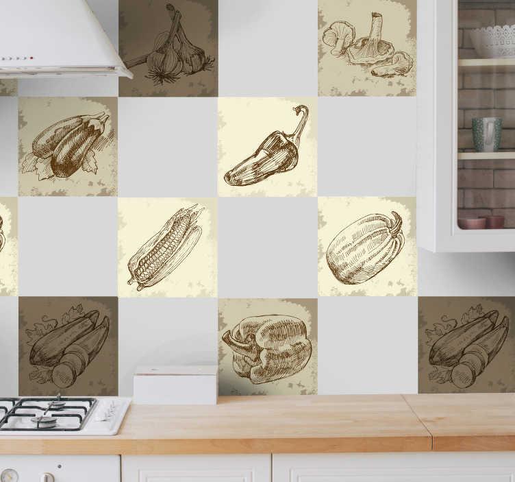 TenStickers. Vintage hrane ilustracije kuhinjska nalepka. Izvirno natisne ilustracije različnih vrst hrane v rjavi in sepijski ton. Fantastičen dizajn iz naše zbirke nalepk za ploščice. Okrasite stene, okna, pohištvo, naprave in še več.