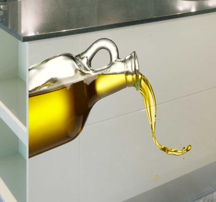 TenVinilo. Vinilo decorativo aceite de oliva. ¿Qué mejor que aderezar una ensalada con un rico aceite jienense? Espectacular fotografía en adhesivo. Una pegatina ideal para decorar las paredes y muebles de tu hogar, concretamente tu cocina.