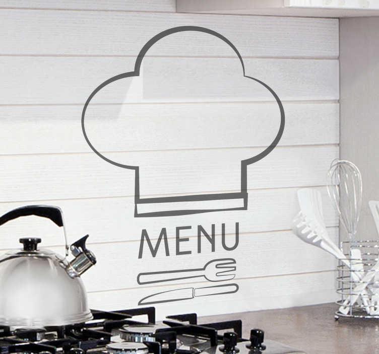 TenVinilo. Vinilo decorativo cocina logo menú. Elegante adhesivo monocolor pensado para los amantes de la gastronomía y los fogones. Una pegatina formada por un gorro de chef, un tenedor, el cuchillo y la palabra MENÚ.