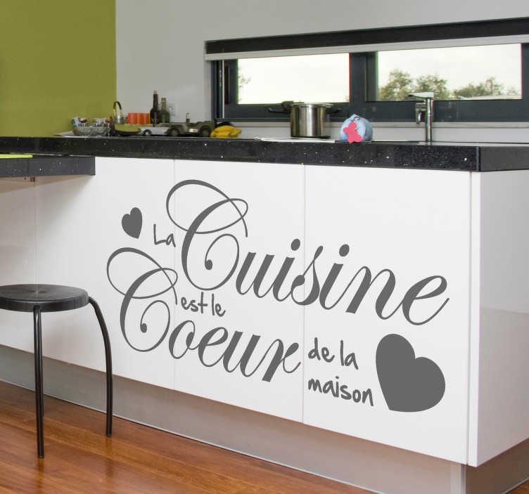 "TenStickers. Coeur de La Maison Wall Sticker. Kitchen Stickers - French theme decal - ""Heart of the home"". Elegant and quirky decals to add some character to your kitchen or cooking area."