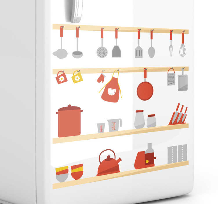 TenStickers. Kitchen Utensils Wall Sticker. Kitchen Stickers - Shelves filled with kitchen utensils. Use this colourful wall sticker to create the perfect atmosphere for cooking and washing up. Decal designs to decorate your kitchen or cooking area.