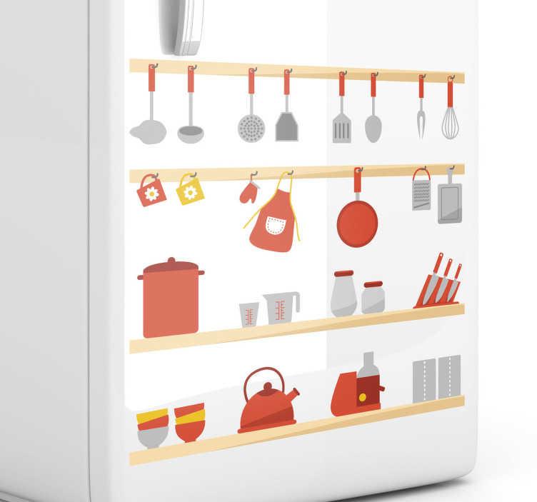 TenStickers. Regal mit Küchenutensilien Aufkleber. Töpfe, Messer, Schüsseln.. All diese Utensilien werden in jeder Küche gebraucht. Verzieren Sie eine triste Wand mit diesem farbenfrohen Wandtattoo.