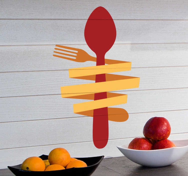 TenStickers. Vinil decorativo colher e garfo. Vinil decorativo de uma colher vermelha e um garfo amarelo torrado em volta dessa mesma colher. Autocolante ideal para cozinhas e restaurantes.