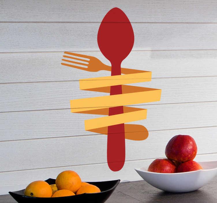 TENSTICKERS. スプーン&フォークウォールステッカー. あなたの台所、ダイニングルームまたはレストランを飾るのに最適な、食物愛好家に理想的なオリジナルの、簡単なカトラリー壁のステッカー。このキッチンウォールステッカーを使用して、どこにでも良い食べ物や料理の雰囲気を作りましょう。