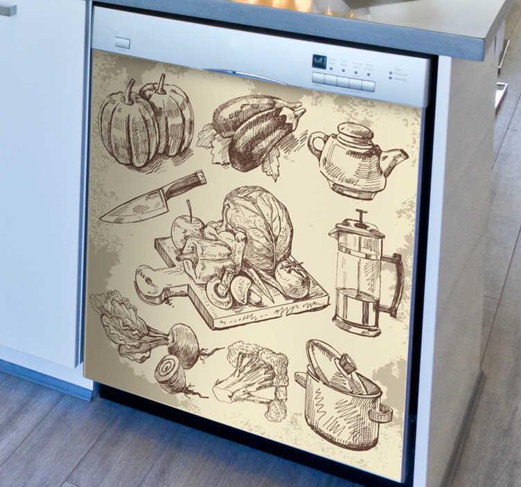 Sticker cuisine illustration sepia