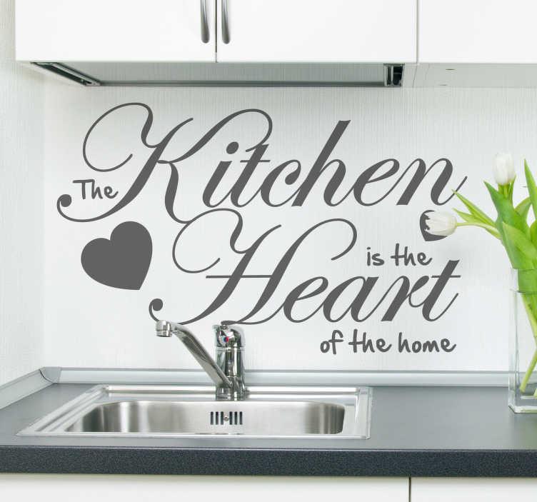 TenStickers. Quote Sticker Keuken. Een leukemuurstickermet deEngelse tekst: The kitchen is the heart of the home.