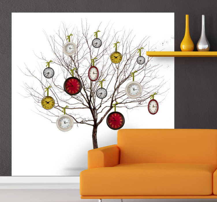 TenStickers. Sticker boom klokken. Een zeer origineel ontwerp van een boom met hangende klokken. Deze muurstickers zijn dan ook ideaal om uw muren mee te decoreren.