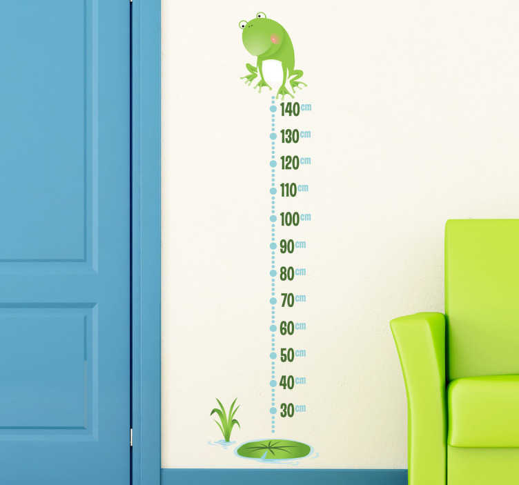 TenStickers. Frog Height Chart Wall Sticker. A superb frog wall sticker illustrating a height chart to keep track of your kids' growth. Original height chart decal for the little ones. Decorate your children's bedroom or play area with this fun and cheerful wall decoration.