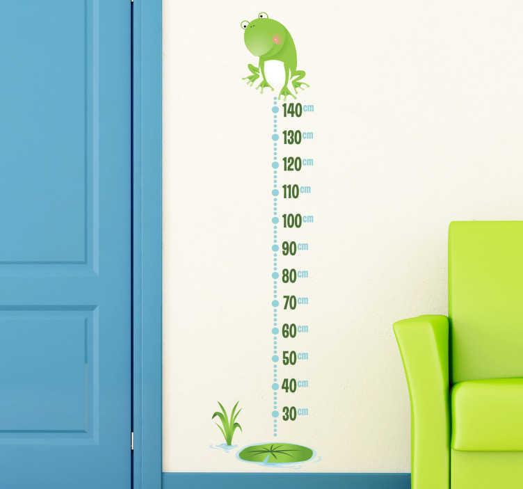 TenStickers. Nalepka za višino listov žaba. Odlična nalepka žaba na steni, ki ponazarja višino, da bi spremljali rast vaših otrok. Originalni višinski grafikon decal za majhne. Okrasite svojo otroško sobo ali igrišče s to zabavno in veselo dekoracijo sten.
