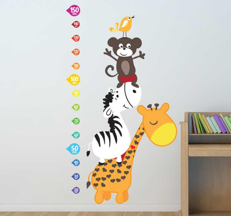 TenStickers. Naklejka na ścianę miarka zwierzęta. Zabawna naklejka na ścianę przedstawiająca kolorową miarkę i obok różne zwierzęta.
