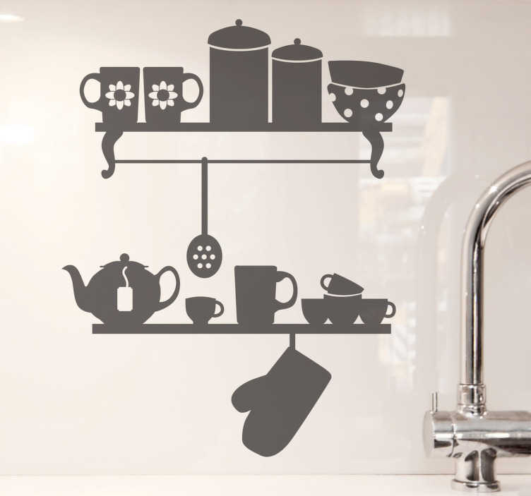 Tenstickers. Keittiönhyllyt Sisustustarra. Kuva kahdesta keittiöhyllystä, joiden päällä on keittiöntarvikkeita. Elegantti sisustustarra, joka tuo tyyliä keittiöösi tai ruuanlaittoalueelle.