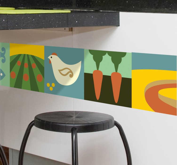 TenVinilo. Vinilo decorativo cenefa ecológica. Espectacular patrón adhesivo decorativo con dibujos sintéticos de comida equilibrada y de campo. Coloca esta cenefa en tu cocina u otra habitación.