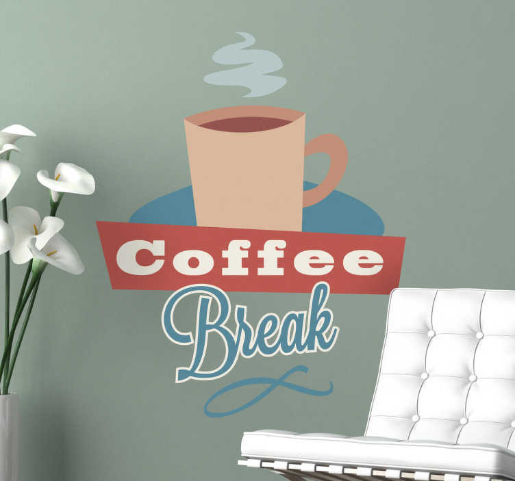 TenStickers. Sticker decorativo coffe break. Adesivo murale dall'aria un po' retrò, che raffigura una fumante tazza di caffè che invita a prendersi una pausa.