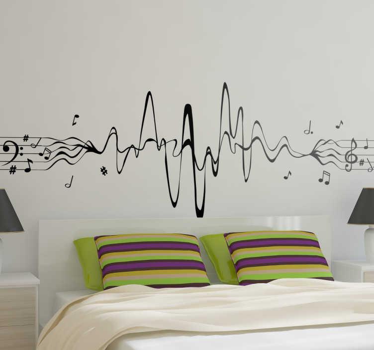 TenStickers. Naklejka na ścianę pięciolinia sinusoida. Jednokolorowa naklejka dekoracyjna nawiązująca do muzyki. Obrazek przedstawia pięciolinię w bardzo ciekawym ujęciu.