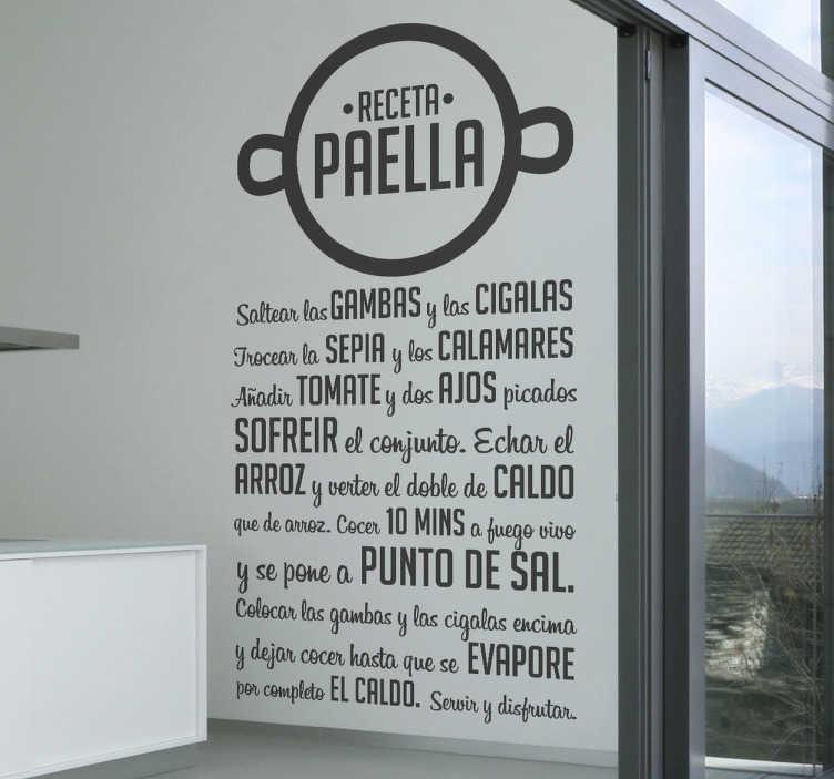Vinilo decorativo receta paella