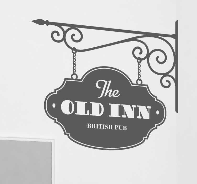 TenStickers. The Old Inn Britse Pub. Deze muursticker illustreert het uithangbord van The Old Inn, een Britse Pub. Kleur en afmetingen aanpasbaar. Keuze uit 50+ kleuren.