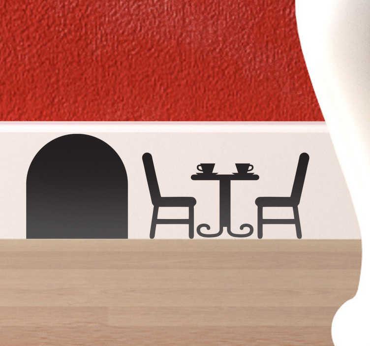 TenStickers. Sticker muizenhol terras tafel. Versier de plinten, of andere hoeken van uw huis met deze originele sticker van een muizenhol met hierbij een terrastafel met stoelen.