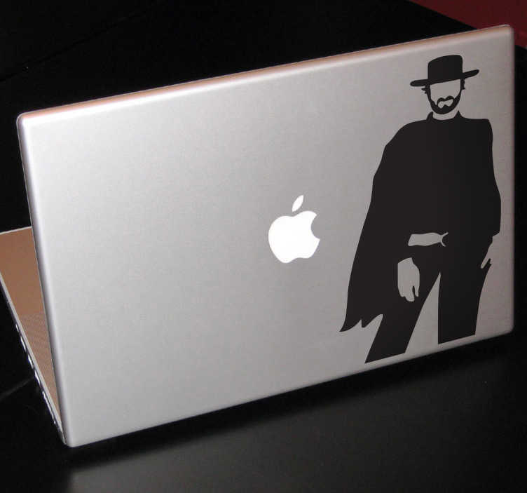 """TenStickers. Autocollant pc portable film Eastwood. Un stickers faisant référence au film """"Pour une poignée de dollars"""" avec Clint Easwood. Idéal pour décorer son ordinateur portable.*Selon le format de votre dispositif les dimensions et proportions du stickers peuvent varier légèrement."""