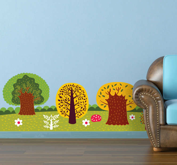 TenStickers. Forest Wall Sticker. A colourful illustration of a forest. Brilliant design from our collection of forest wall stickers to decorate any space at home.
