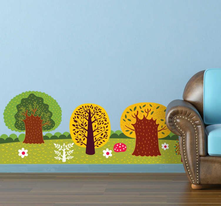 TenVinilo. Vinilo decorativo bosque ilustrado. Espectacular adhesivo con el dibujo de un prado colorido lleno de vegetación.